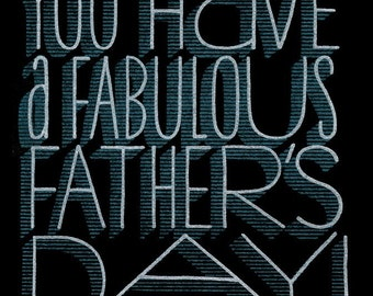 Set of 2 Hand-printed Father's Day Cards -- Fabulous