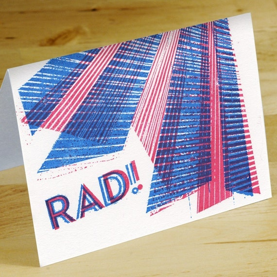 Rad Hand-printed Greeting Cards -- Set of 6
