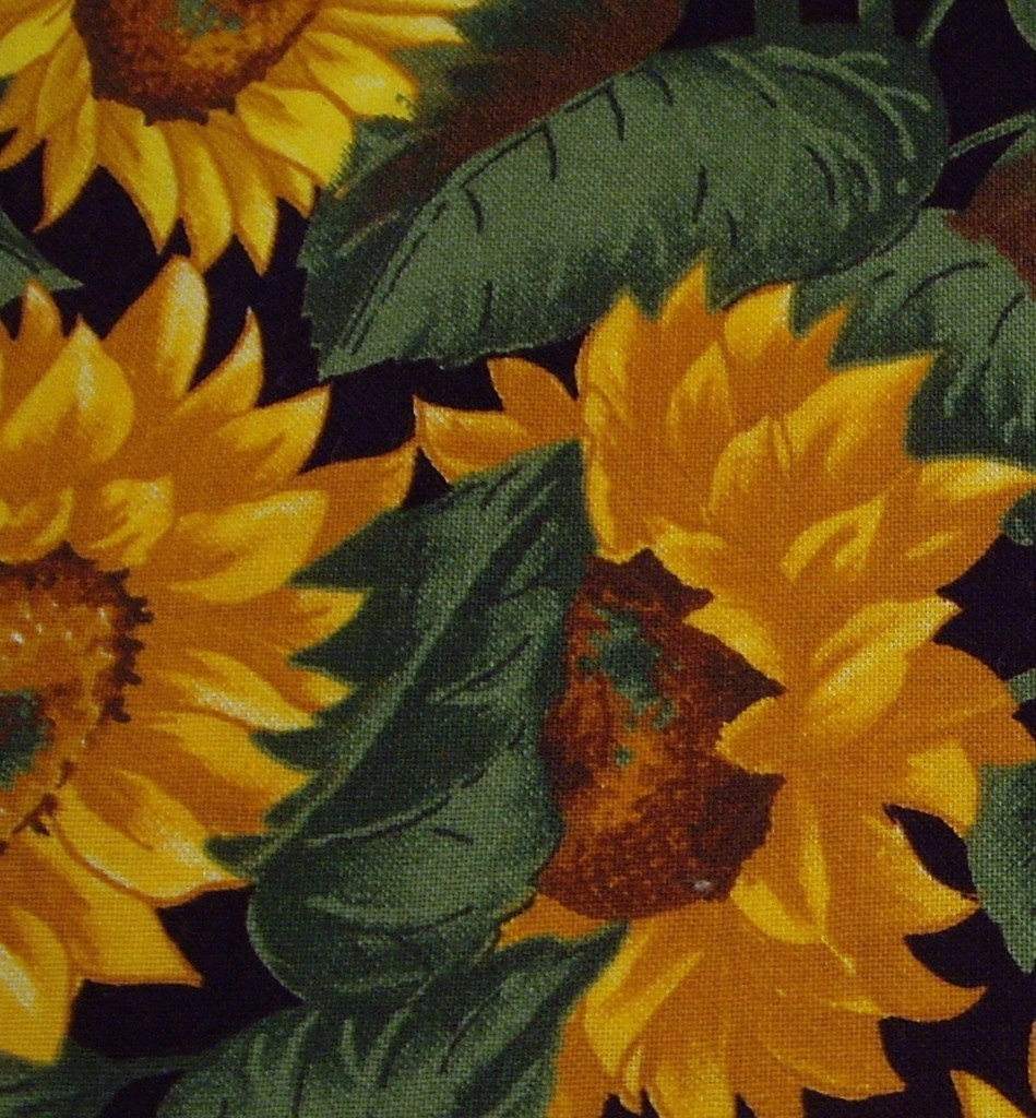 Nearly 2 Yards Sunflower Print Fabric