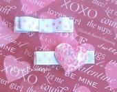 LiliBug Pink Sparkly HEART Clippie Set