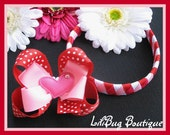Valentines Day Heart 2-in-1 Woven Headband and HairBow Set