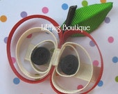 LiliBug Back To School Red Apple Hair Clip
