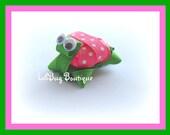 LiliBug Pink Polka Dot 3D TURTLE Hair Clip