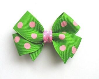 LiliBug Green and Pink Dot Hair Bow