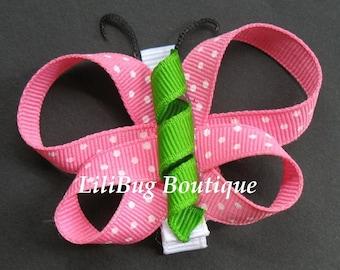 LiliBug Pink Polka Dot Butterfly Hair Clip