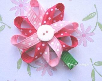 LiliBug Pink Polka Dot Flower Hair Clippie
