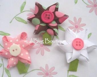LiliBug SPRING FLOWERS Newborn Hair Clip Set