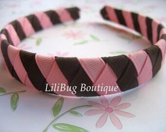 LiliBug Chocolate Brown and Pink Woven Headband