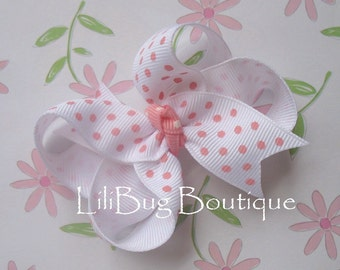 LiliBug White / Pink Dot Boutique Hair Bow