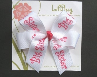 LiliBug White / Pink BIG SISTER Hair Bow