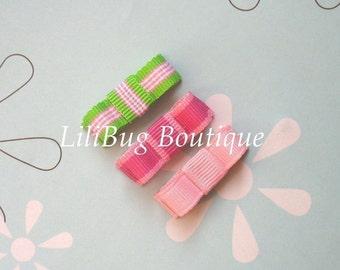 LiliBug Preppy Pink Stripes Newborn Snap Clip Set