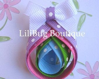 LiliBug Polka Dot EASTER EGG Hair Bow - OOAK
