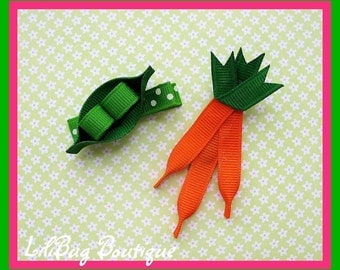 LiliBug Peas and Carrots Hair Clip Set - Great for Easter and Spring