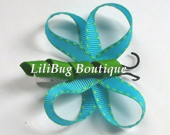 LiliBug Turquoise Blue Dragonfly Hair Clip