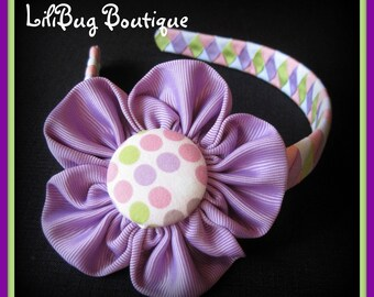 LiliBug Purple Dizzy Dot Flower 2-in-1 Woven Headband and HairBow Set
