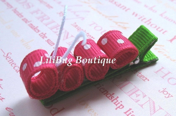LiliBug Pink \/ White Polka Dot Caterpillar Hair Clip