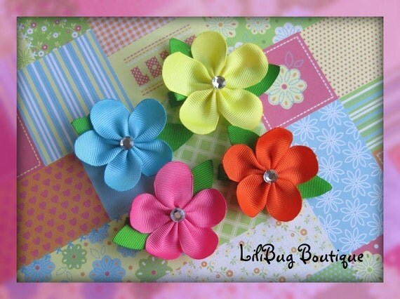 Tropical Flower Hair Clip Set of 2 - YOU PICK COLORS