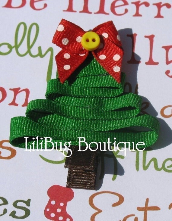 LiliBug Winter Christmas Tree Hair Clip