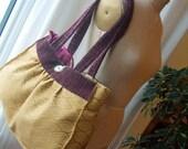 Large Mustard Tote Bag with Bird Design on Pink Batik Lining