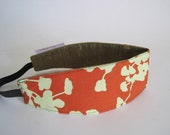 RESERVED FOR JACKIE reversable headband that won't slip off your head orange and gold silk