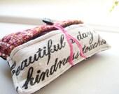 Pocket Kleenex Holder with vintage linen beautiful kindness