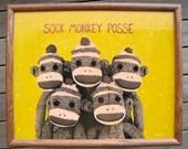 Sock Monkey Posse - Mixed Media Painting