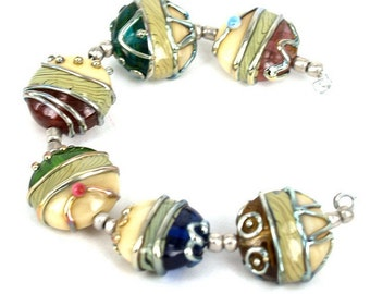 Pearly Colorful Silver Stones Lampwork beads (6) SRA