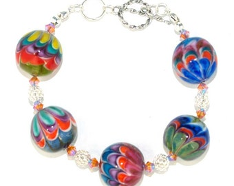 Pearly bracelet Lampwork Flower (5) with sterling silver 925