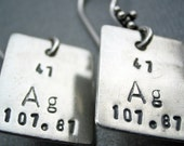 Chemistry Earrings - Periodic Table Elements for Girl Geeks in Sterling Silver