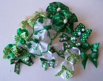 St. Patricks Bows. Dog Bows, Puppy Bows, Dog Grooming Bows, St. Pat's Bows, Pet Grooming Bows 30 bows - 13 pairs and 4 collar bows