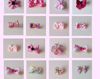 Pink all pink dog bow assortment 20 bows - singles