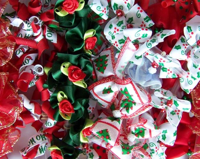 Christmas Dog Bows Grooming Puppy Bows Holiday Budget Assortment  - 50 bows - 25 pairs