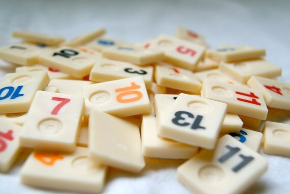 50 Mini Rummikub Game Pieces for your Art or Assemblage