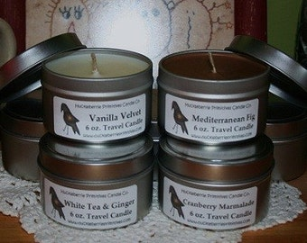 6 oz Soy Travel Tin Soy Candle You Pick Your Scent