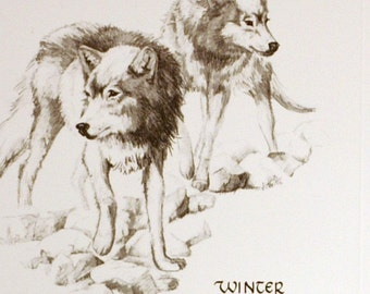 Christmas Card - Winter Wolves - wildlife