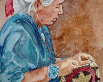 Print - Giclee - Basket Weaver - Native American