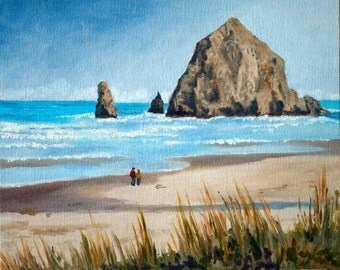 Original Oil Painting - Haystack Rock, Cannon Beach, Oregon - Seascape - Ocean
