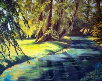 Original Oil Painting - Landscape - Water - Trees - Sunshine - Shade
