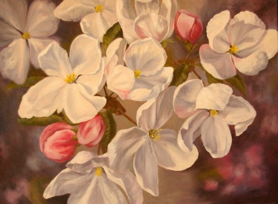 Giclee Print - Apple Blossoms - Announcing Spring