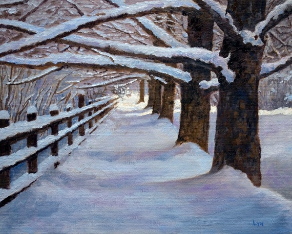 Original Oil Painting - snow - fence - trees- walk