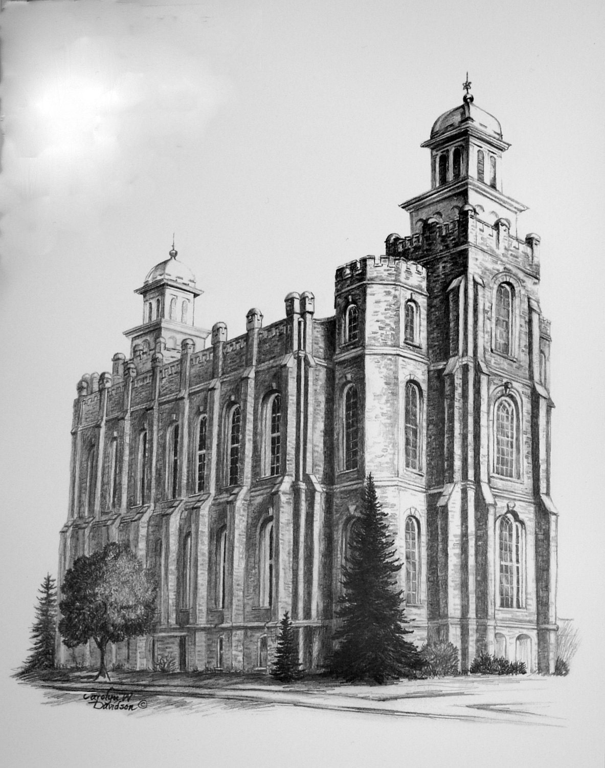 print architectural logan temple pencil drawing