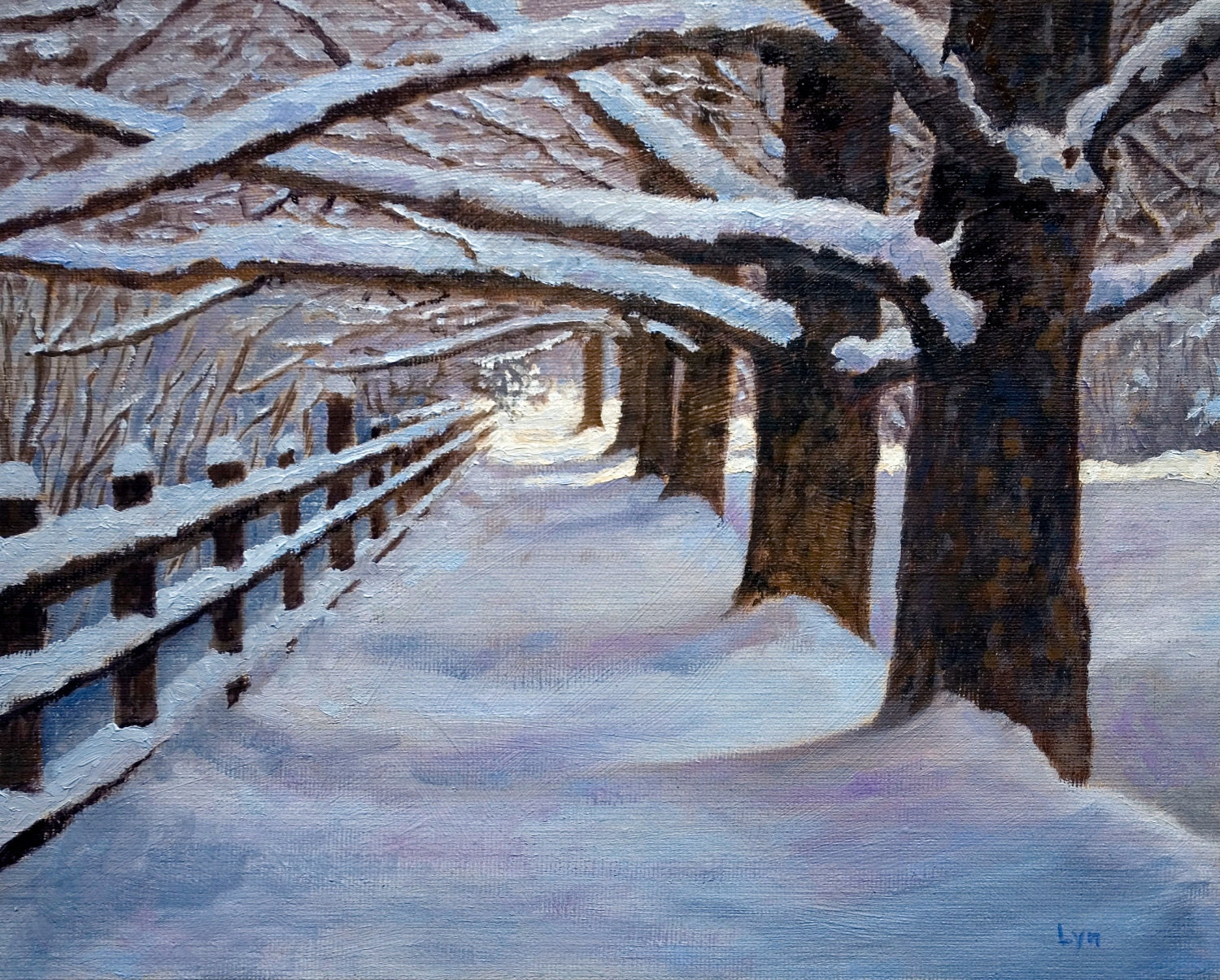 Original Oil Painting Snow Fence Trees Walk