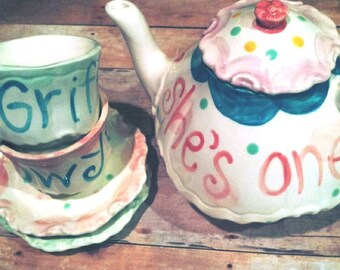 Little Girls Tea Party Tea Set, Handpainted Custom Personalized Monogrammed