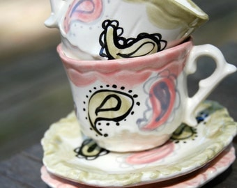 Pink Paisley Tea Cups . . .  Personalized Tea Cups Handpainted. . . Lovely for tea parties and showers. . .