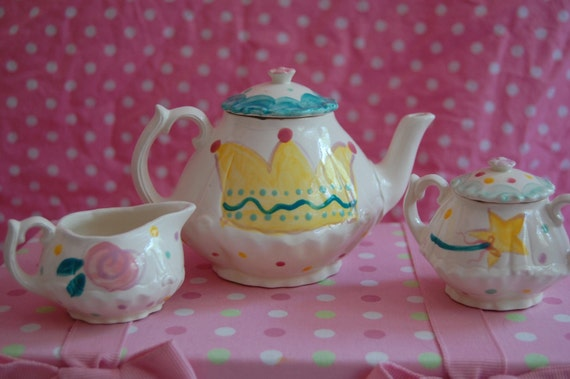 Princess Personalized Little Girl's Tea Set  Handpainted