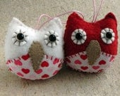 Valentines Day Owls Couple Ornaments,  Saint valentine day gift for his and her