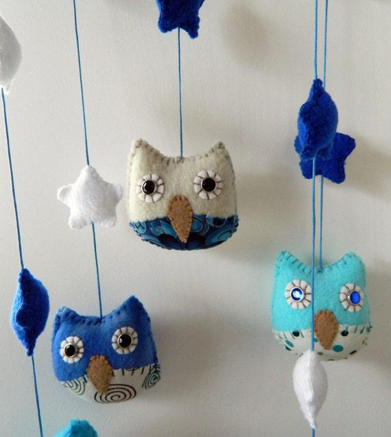 Children Nursery Decor BLUE Owl Mobile - READY to ship