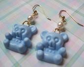Baby Blue Teddy Bear Earrings