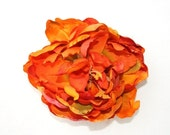 Orange Flower - Bright Orange Toned Fall FULL Peony - 5 inches - Artificial Flower