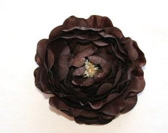 Dry Look Ruffle Ranunculus in Dark Chocolate Brown - 4 inches - ITEM 0657